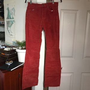 70s inspired Red Corduroy pants
